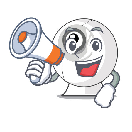 With megaphone webcam in the shape of mascot vector illustration