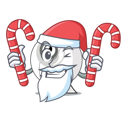 Santa with candy cartoon webcam in funny that shape vector illustration