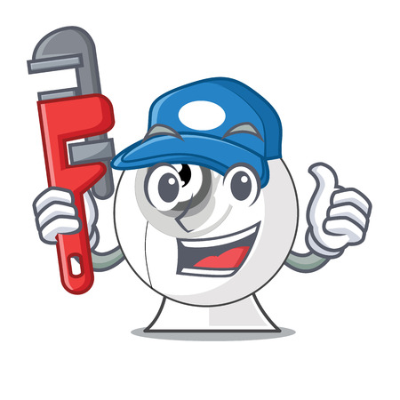 Plumber cartoon webcam in funny that shape vector illustration