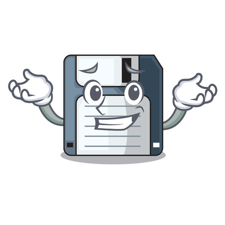 Grinning floppy disk isolated with a mascot vector illustration Ilustração