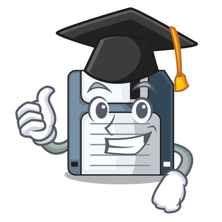 Graduation floppy disk isolated with a mascot vector illustration Illustration