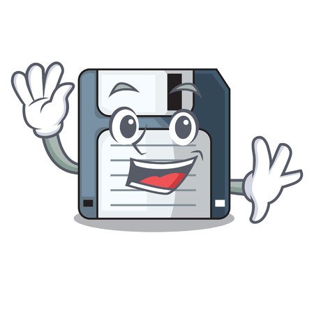 Waving floppy disk isolated with a mascot vector illustration
