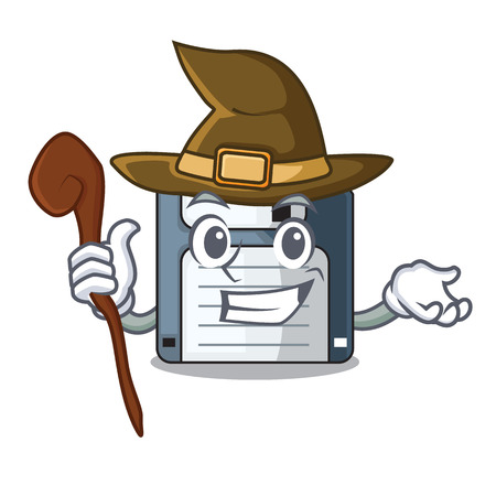 Witch floppy disk in the character funny vector illustration