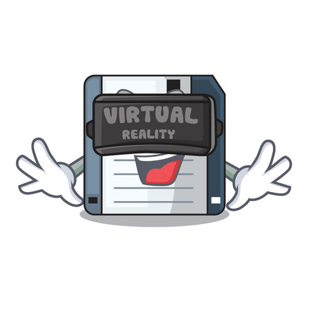 Virtual reality floppy disk in the character funny vector illustration