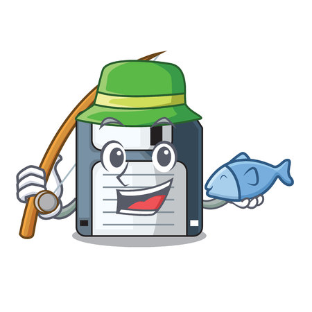 Fishing floppy disk in the character funny vector illustration