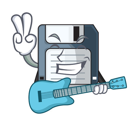 With guitar floppy disk in the character funny vector illustration Illustration
