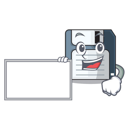 With board cartoon shape in the floppy disk ve ctor illustration 向量圖像