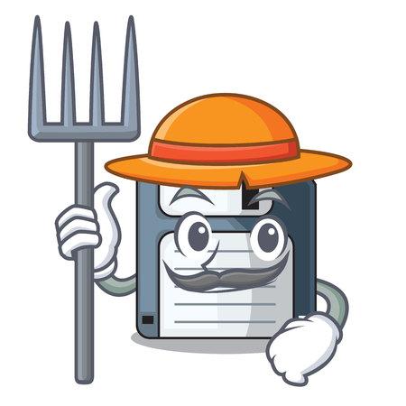 Farmer cartoon shape in the floppy disk ve ctor illustration