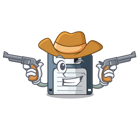 Cowboy cartoon shape in the floppy disk