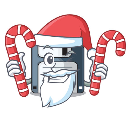 Santa with candy floppy disk in the writing wallet vector illustration