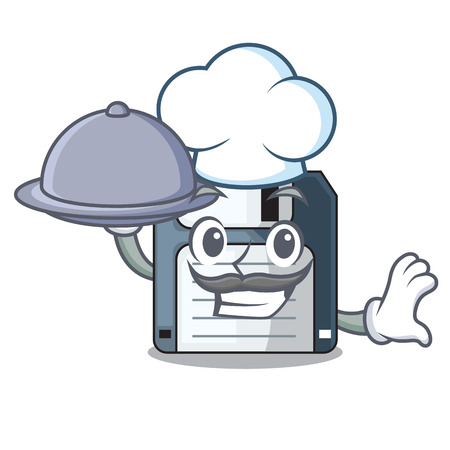 Chef with food floppy disk in the character funny vector illustration Illustration