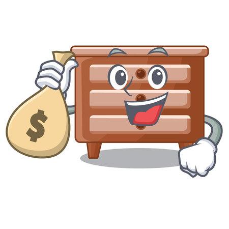With money bag bidside table in shape cartoon wood vector illustration Illustration