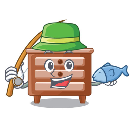 Fishing character bedside table in the room vector illustration