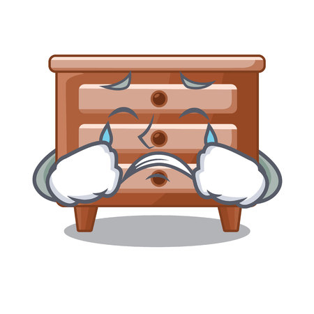 Crying character bedside table in the room vector illustration