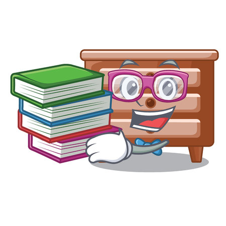 Student with book shape of bedside table shape funny vector illustration
