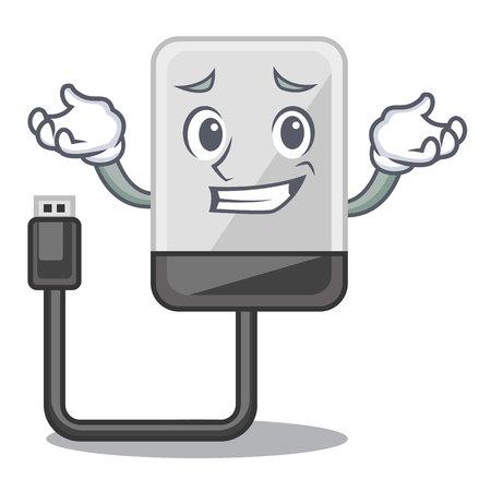 Grinning hasrd cartoon drive on wooden table vector illustration 矢量图片