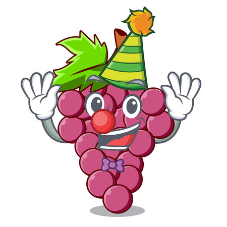 Clown red grapes fruit in cartoon basket vector illustration