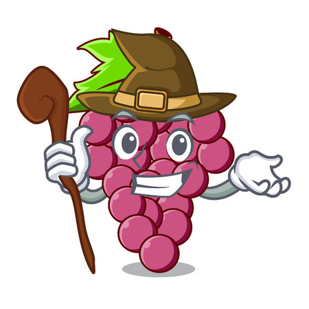 Witch red grapes fruit above mascot table vectoer illustration
