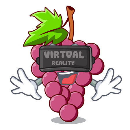 Virtual reality red grapes fruit above mascot table vectoer illustration