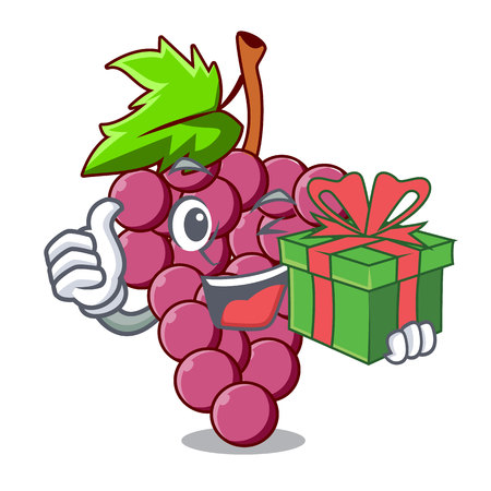 With gift red grapes fruit above mascot table vectoer illustration