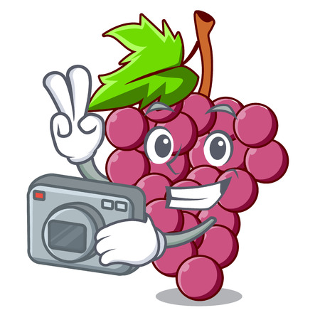 Photographer red grapes fruit above mascot table vectoer illustration