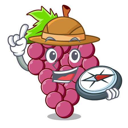 Explorer red grapes fruit above mascot table vectoer illustration