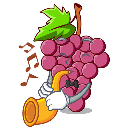 With trumpet red grapes fruit above mascot table vectoer illustration