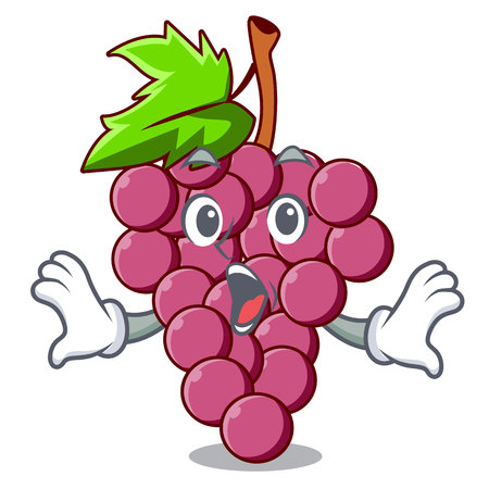 Surprised red grapes fruit above mascot table vectoer illustration