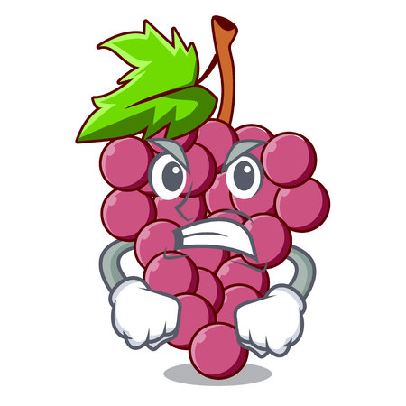 Angry red grapes fruit above mascot table vectoer illustration Ilustração
