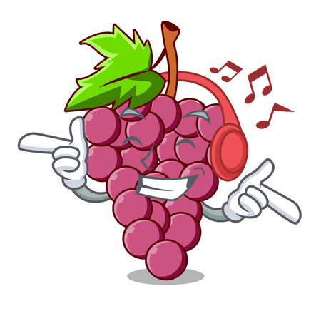 Listening music red grapes fruit above mascot table vectoer illustration