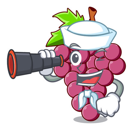 Sailor with binocular red grapes fruit above mascot table vectoer illustration