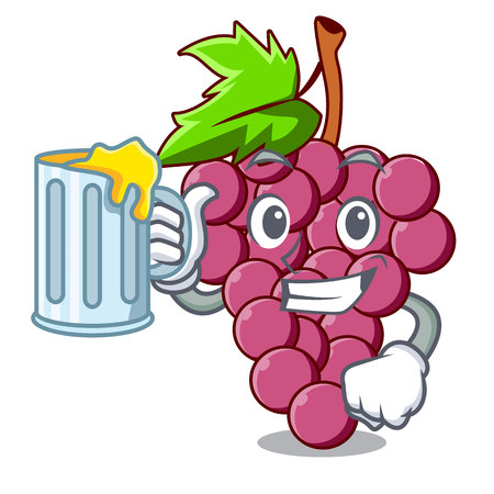 With juice red grapes fruit above mascot table vectoer illustration