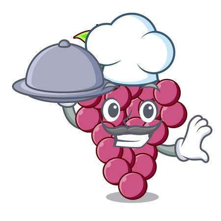 Chef with food red grapes fruit above mascot table vectoer illustration