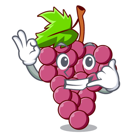 Call me red grapes fruit in cartoon basket vector illustration