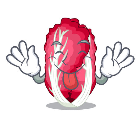 Tongue out Vegetable radicchio isolated with the cartoons vector illustration