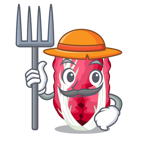 Farmer radiccho in the shape of mascot vector illustration