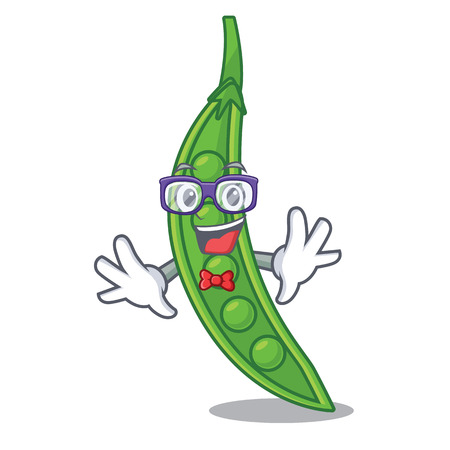 Geek snow pea in a cartoon bowl vector illustration