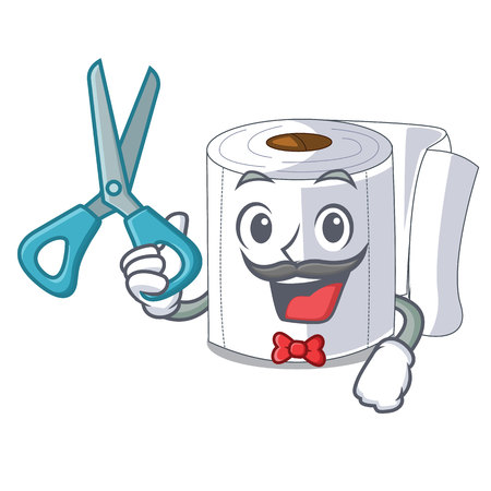 Barber cartoon toilet paper in the bathroom vector illustration