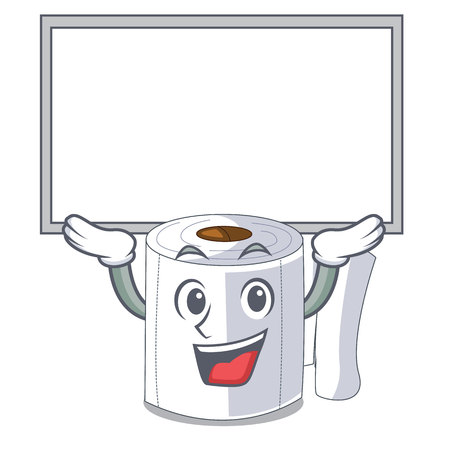 Up board cartoon toilet paper in the bathroom vector illustration