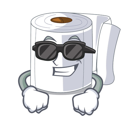 Super cool character toilet paper rolled on wall vector illustration Illustration