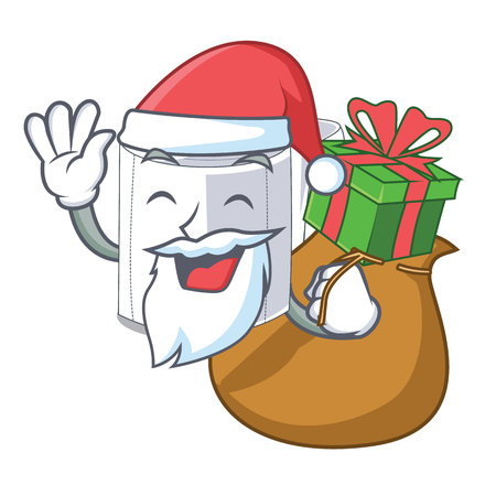 Santa with gift toilet paper isolated with the cartoons vector illustration Vectores
