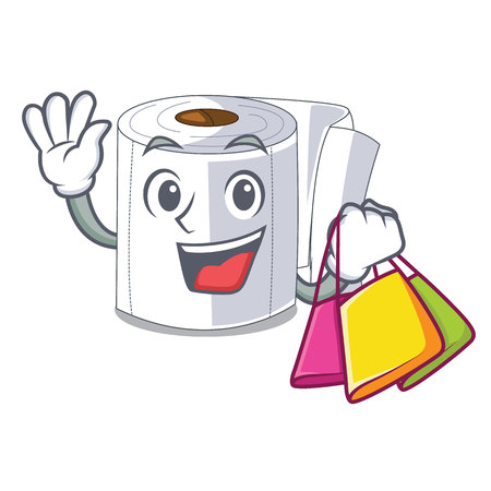 Shopping character toilet paper rolled on wall vector illustration
