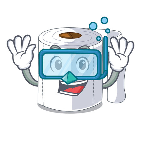 Diving character toilet paper rolled on wall vector illustration 일러스트
