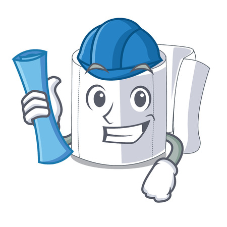 Architect character toilet paper rolled on wall vector illustration
