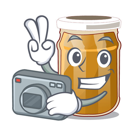 Photographer almond butter cartoon in a bowl vector illustration Vetores