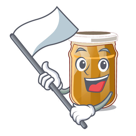 With flag almond butter isolated in the mascot vector illustration Ilustração