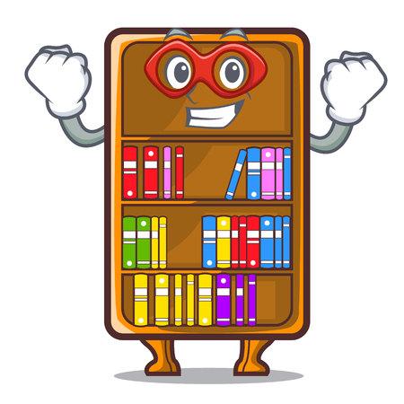 Super hero cartoon bookcase in the shape wood