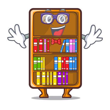 Geek cartoon bookcase in the shape wood vector illustration