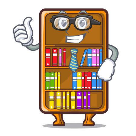 Businessman cartoon bookcase in the shape wood vector illustration