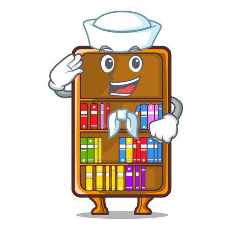 Bibliothèque de mascotte de marin à côté de l'illustration vectorielle de bureau d'étude